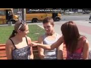 Две девушки пикаперши сняли парня для секса